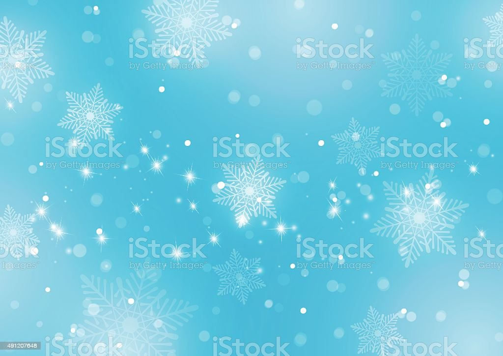 Abstract Light Blue Background with Snowflakes vector art illustration