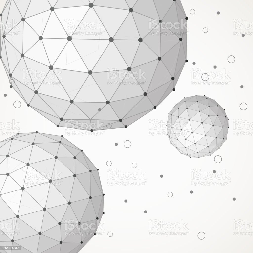abstract line ball pattern background vector art illustration