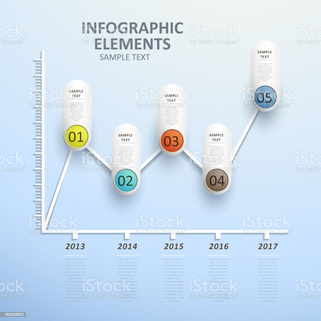 Abstract line chart info graphics showing trend over years vector art illustration
