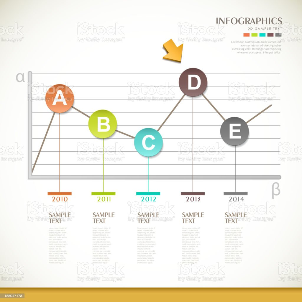 abstract line chart infographics design vector art illustration