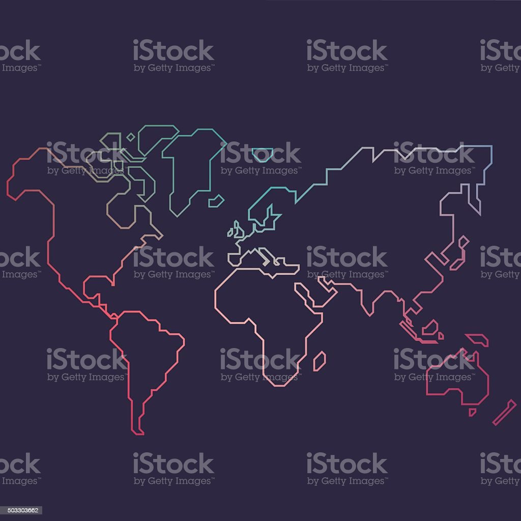 Abstract line world map vector art illustration