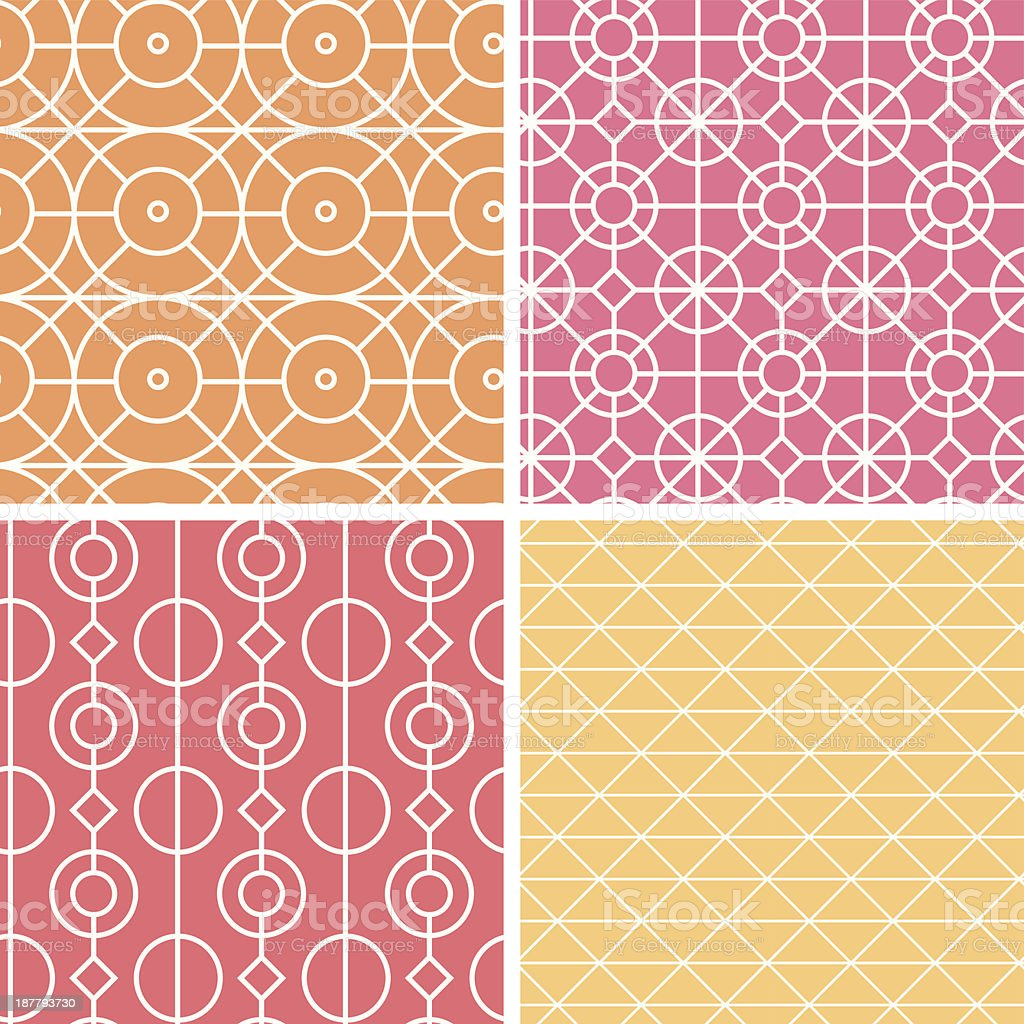 Abstract lineart geometric seamless patterns set royalty-free stock vector art