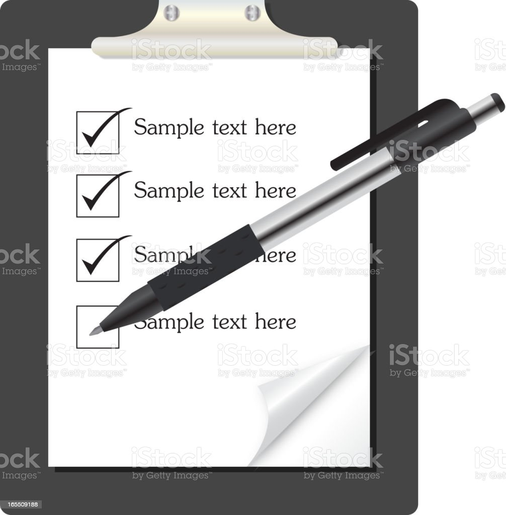 abstract list icon with pen vector illustration on business theme royalty-free stock vector art