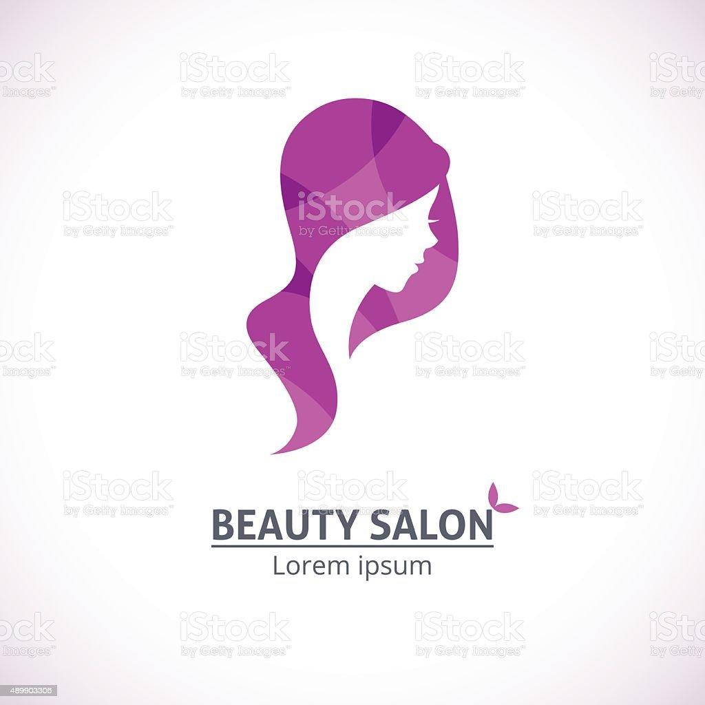 Abstract logo for a beauty salon portrait of a girl vector art illustration