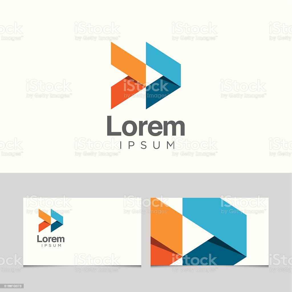 Abstract logo with business card template 08 vector art illustration