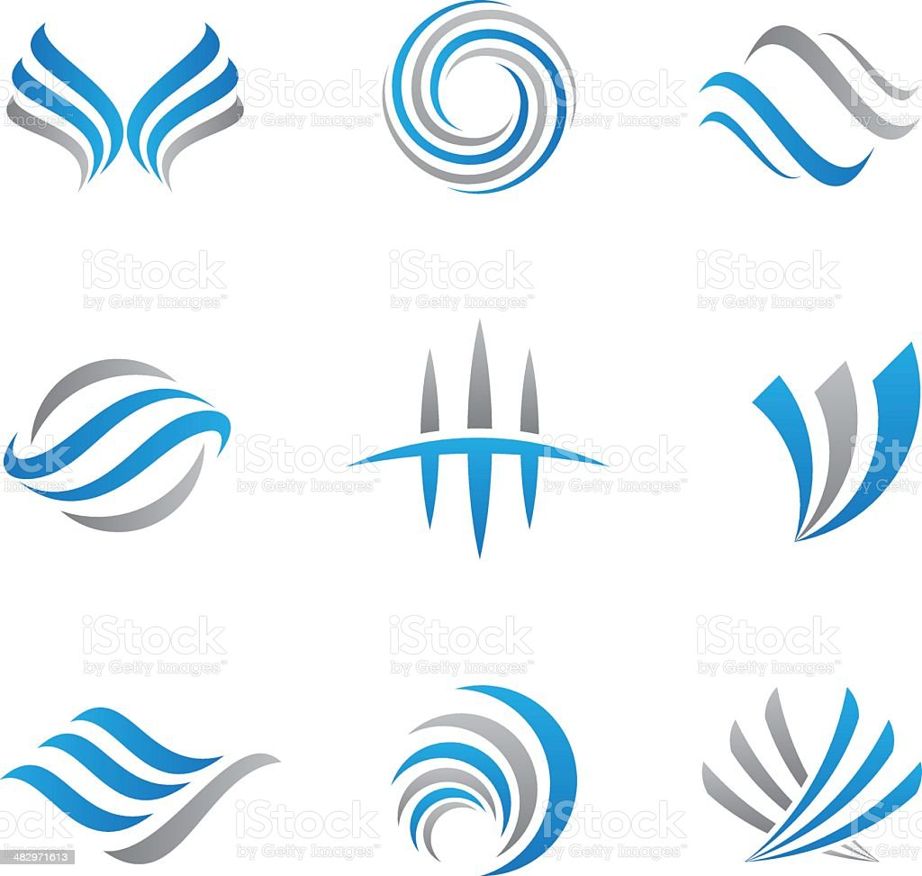 Abstract logos and icons vector art illustration
