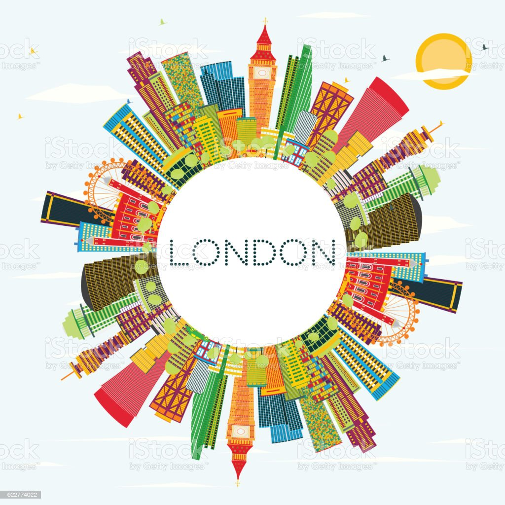Abstract London Skyline with Color Buildings and Copy Space. Business...