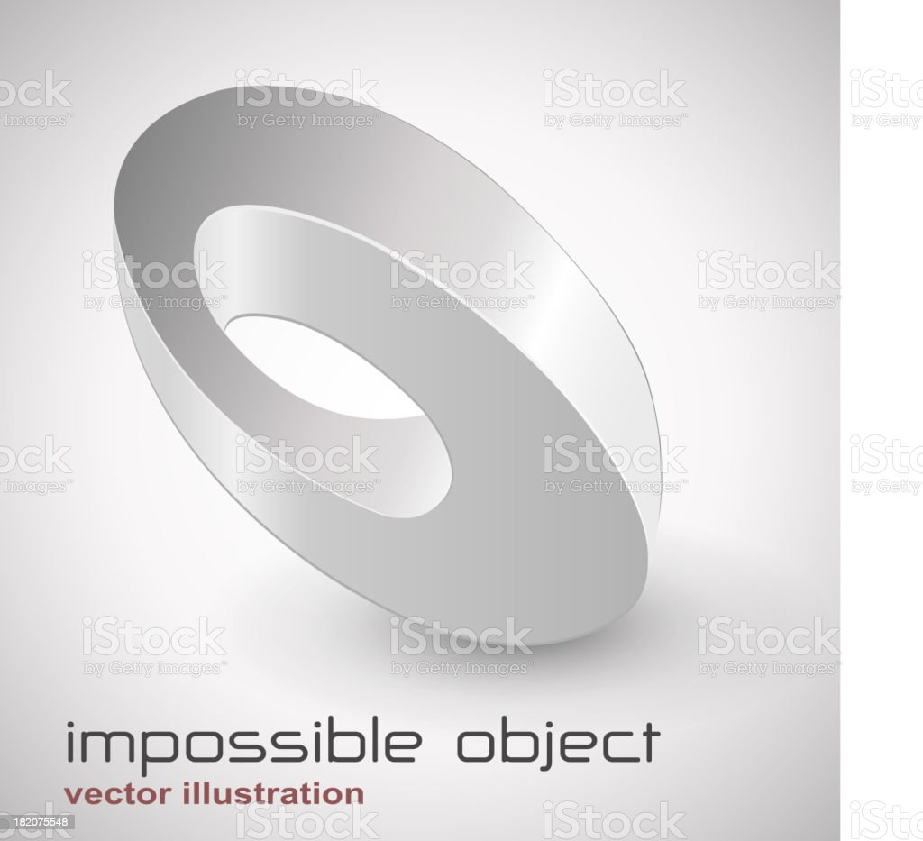 Abstract loop design with words impossible object vector art illustration