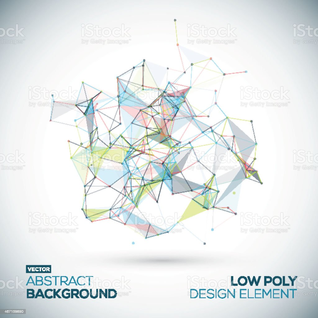 Abstract low poly geometric technology vector design element. vector art illustration