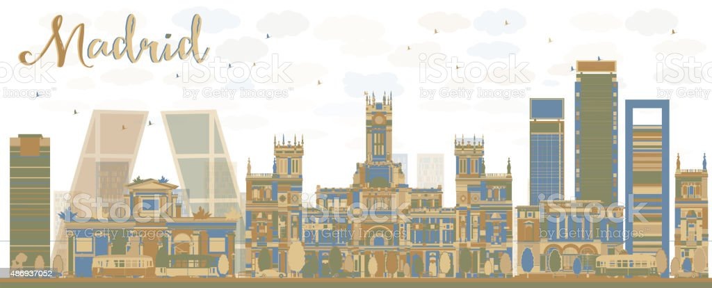 Abstract Madrid Skyline with brown and blue buildings vector art illustration