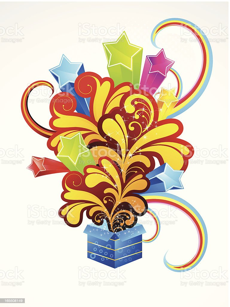 abstract magic box with floral royalty-free stock vector art