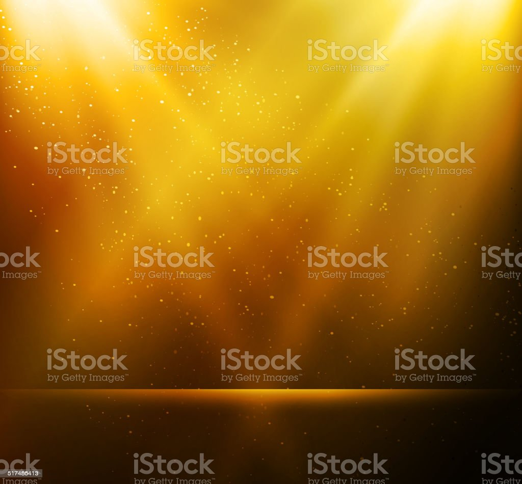 Abstract magic gold light background vector art illustration