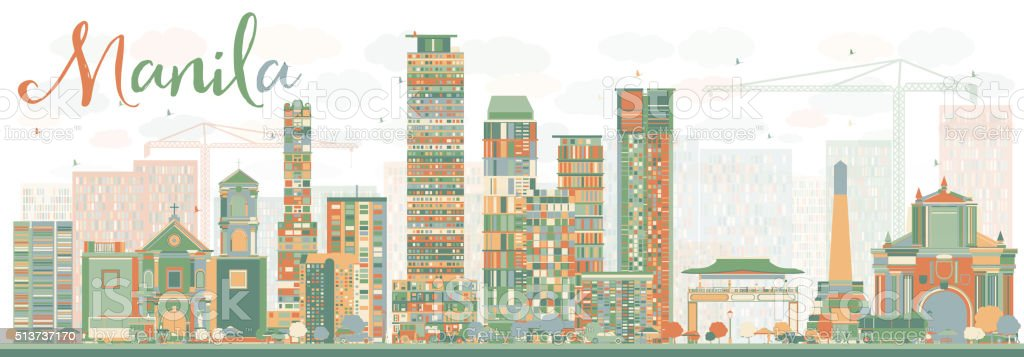 Abstract Manila Skyline with Color Buildings. vector art illustration