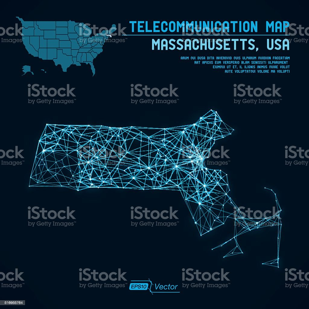 Abstract Massachusetts / USA telecommunication map concept vector art illustration