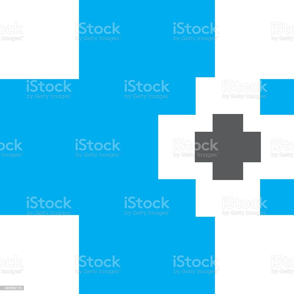 Abstract medical blue pharmacy sign vector art illustration
