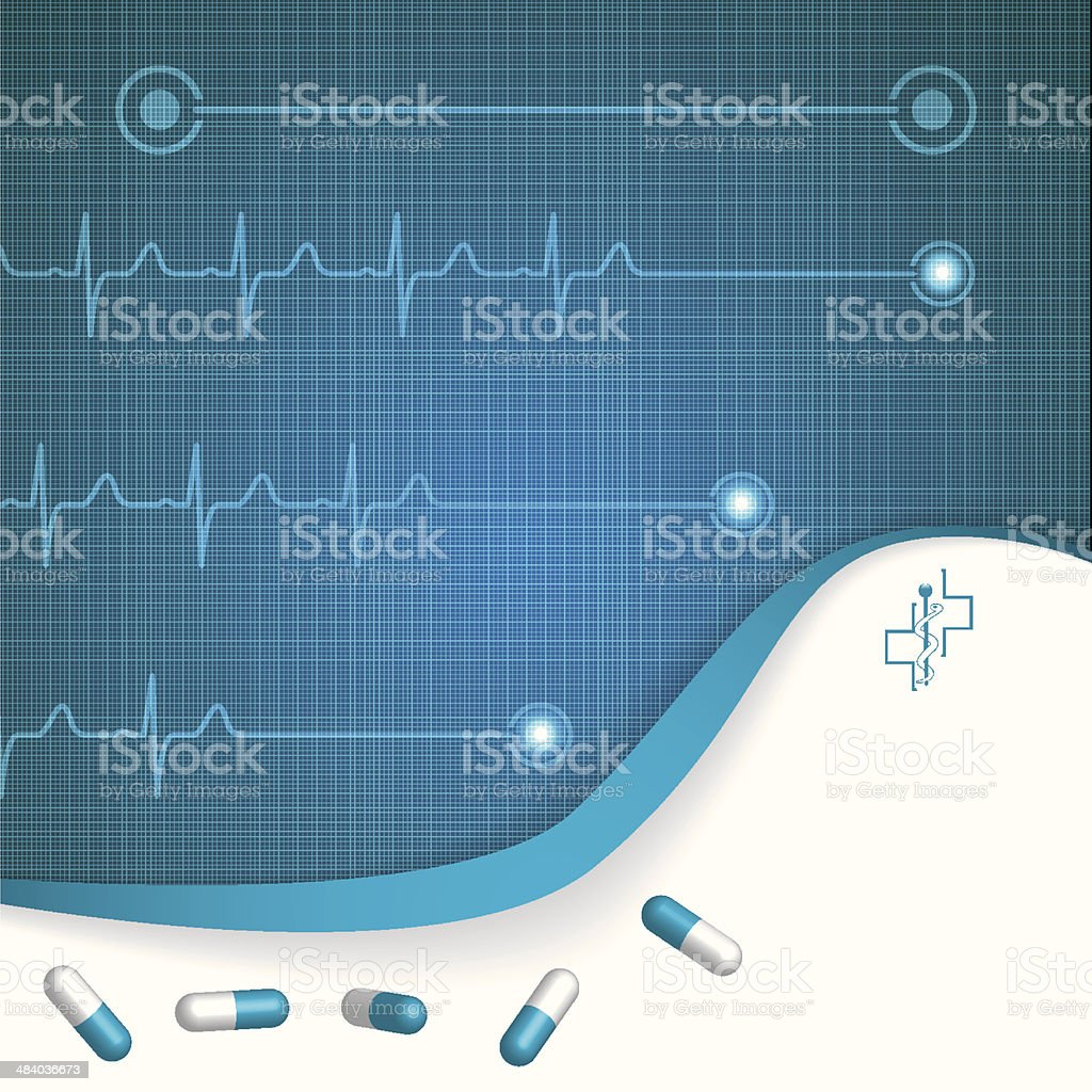 Abstract medical cardiology ekg background vector art illustration