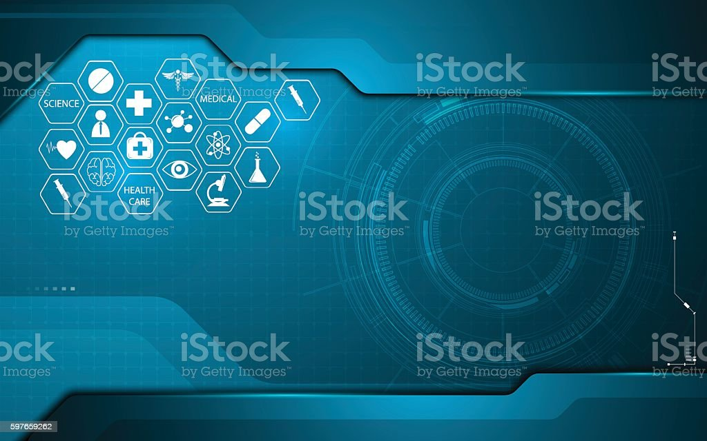abstract medical health care icon on technology innovation concept background vector art illustration