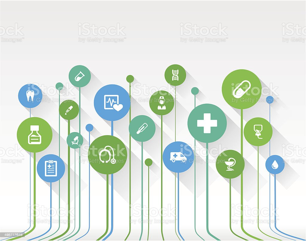 Abstract medicine background with lines, circles and flat icons. vector art illustration