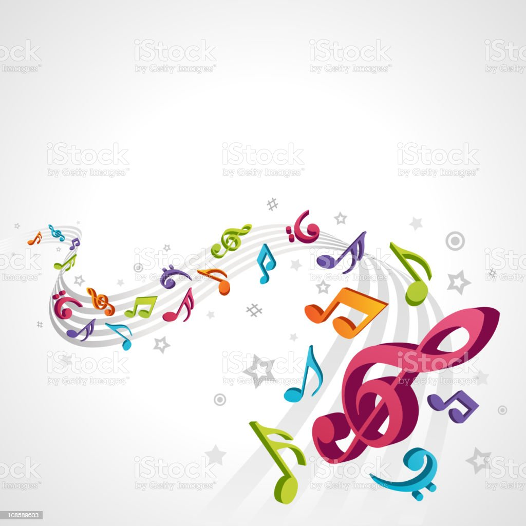 Abstract melody with fly 3d notes vector background royalty-free stock vector art