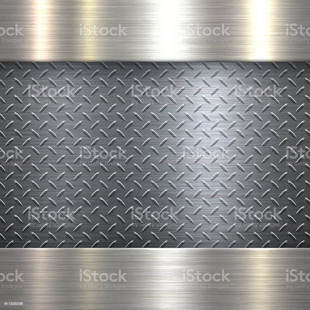 Abstract Metallic Background - Metal Diamond Plate in Silver Color vector art illustration