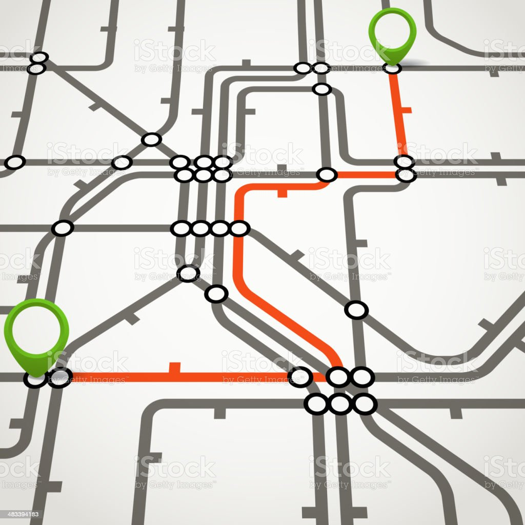 Abstract metro scheme with the selected path vector art illustration