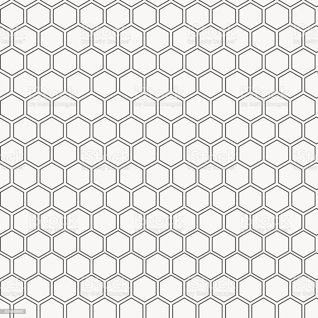 Abstract minimalistic black and white pattern hexagon vector art illustration