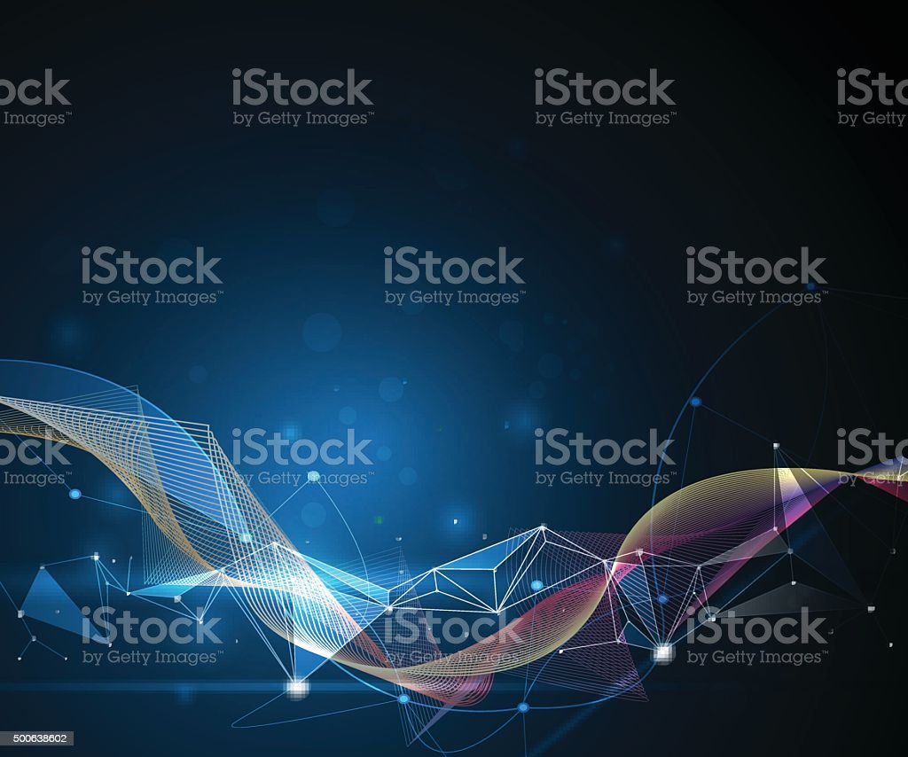 Abstract Molecules and 3D Mesh. Futuristic- digital technology concept vector art illustration