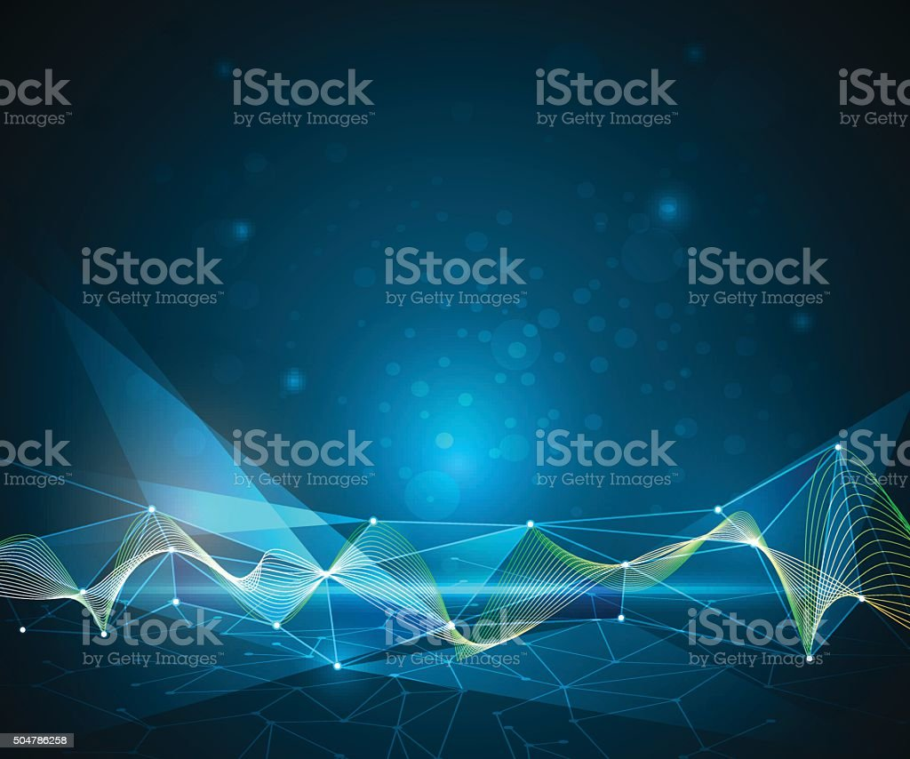 Abstract Molecules and 3D Mesh with Lines.  Futuristic technology concept vector art illustration