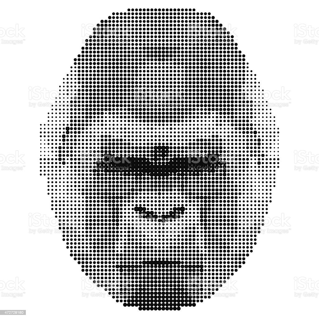 abstract monochrome gorilla portrait of circles isolated on white background vector art illustration