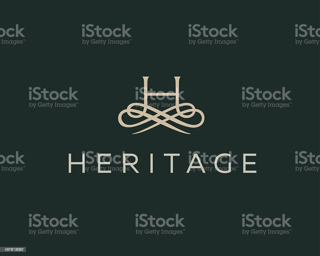 Abstract monogram elegant flower logo. Premium letter H initials icon . vector art illustration
