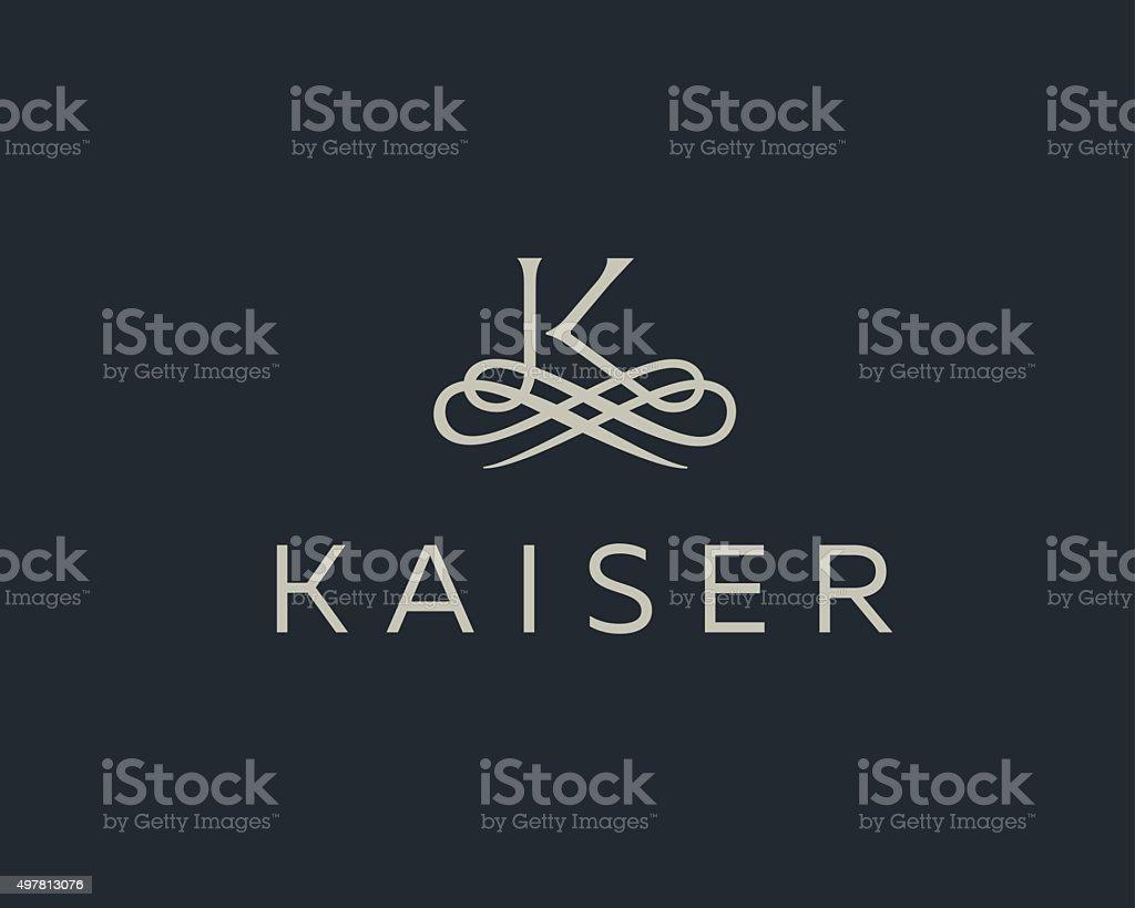 Abstract monogram elegant flower logo. Premium letter K initials icon . vector art illustration