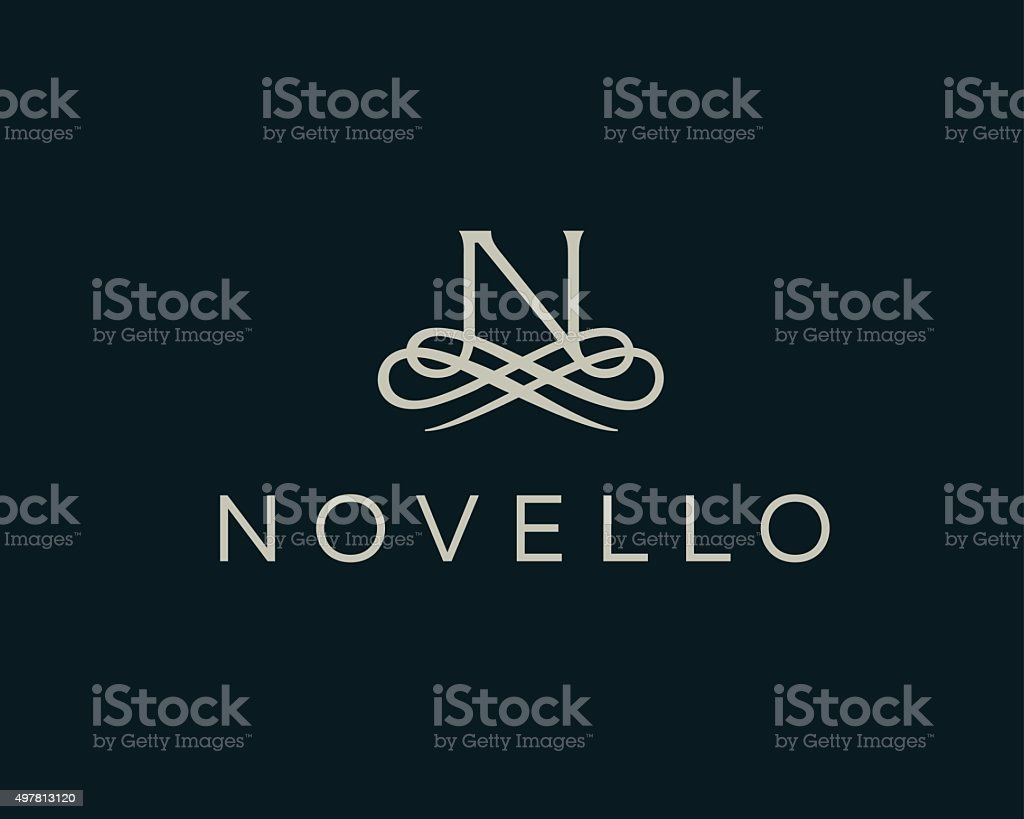 Abstract monogram elegant flower logo. Premium letter N initials icon . vector art illustration