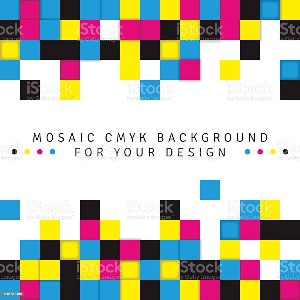 Abstract mosaic background from CMYK colors on white background vector art illustration
