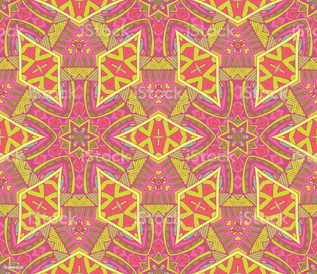 abstract mosaic ethnic seamless vector pattern vector art illustration