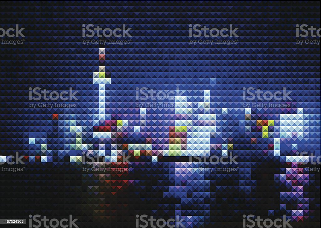 abstract mosaic style Shanghai skyline in night background vector art illustration