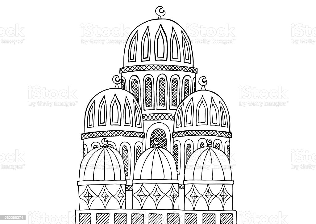 Abstract Mosque illustration. Sketchy hand drawn Doodle. Black a vector art illustration