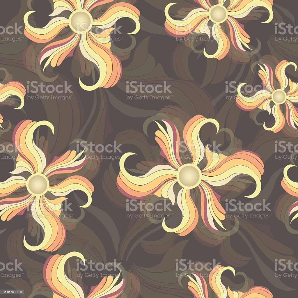 Abstract multicolored flowers, seamless pattern royalty-free stock vector art