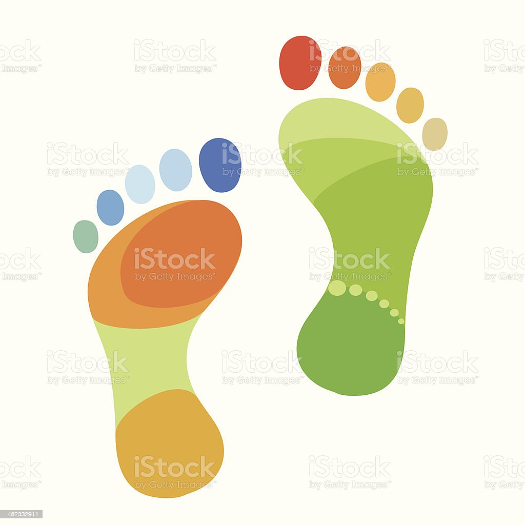 Abstract multicolored foot vector art illustration