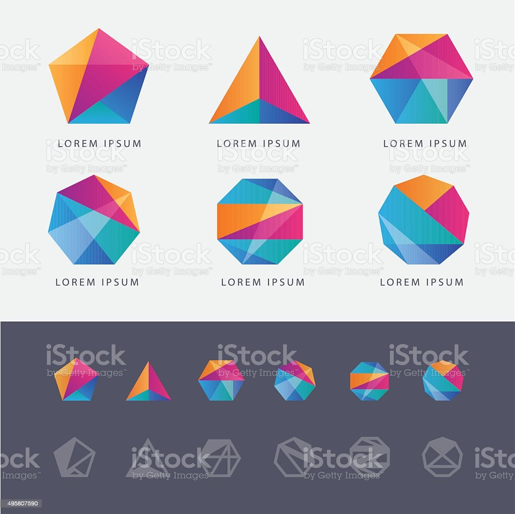 Abstract multicolored geometric polygon shape logo design marks vector art illustration