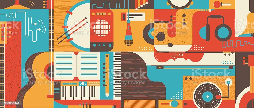 Abstract Music Background flat vector illustration vector art illustration