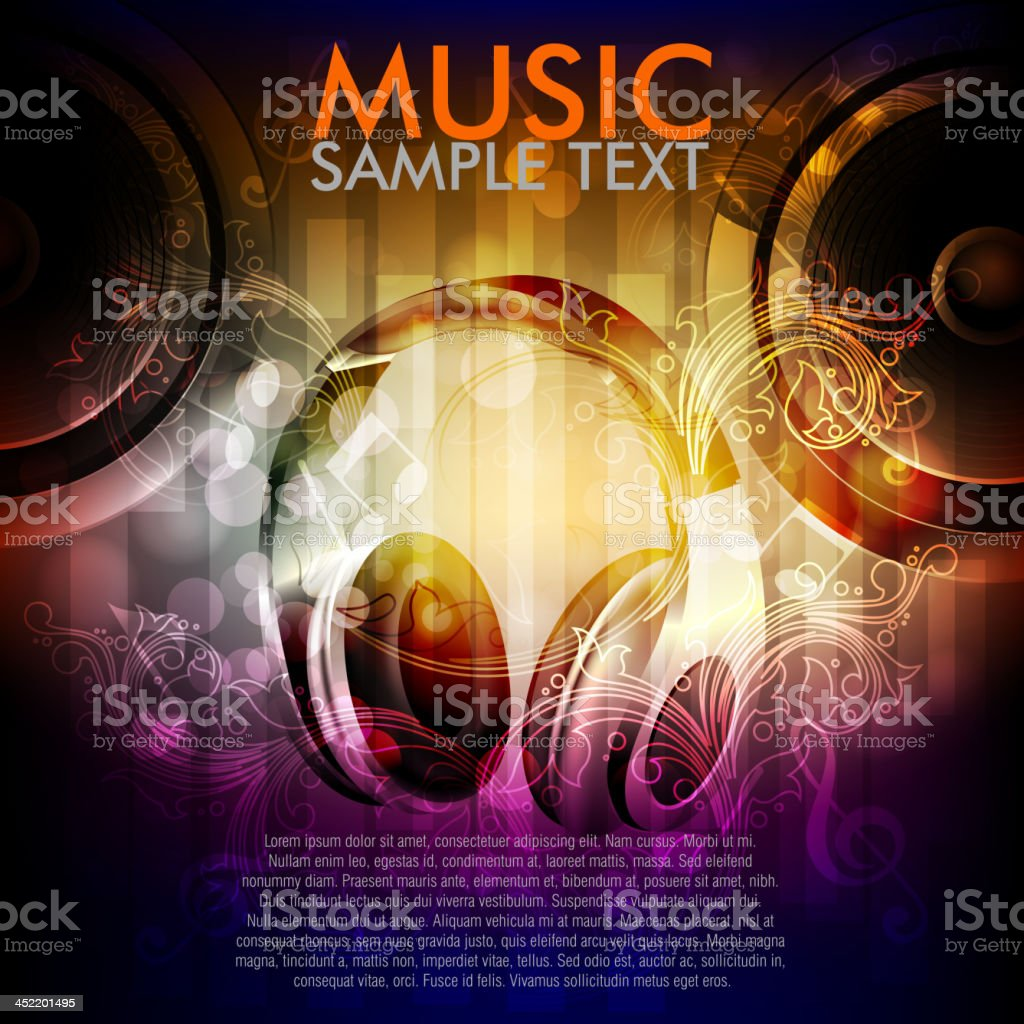 Abstract Music Background with head phones vector art illustration