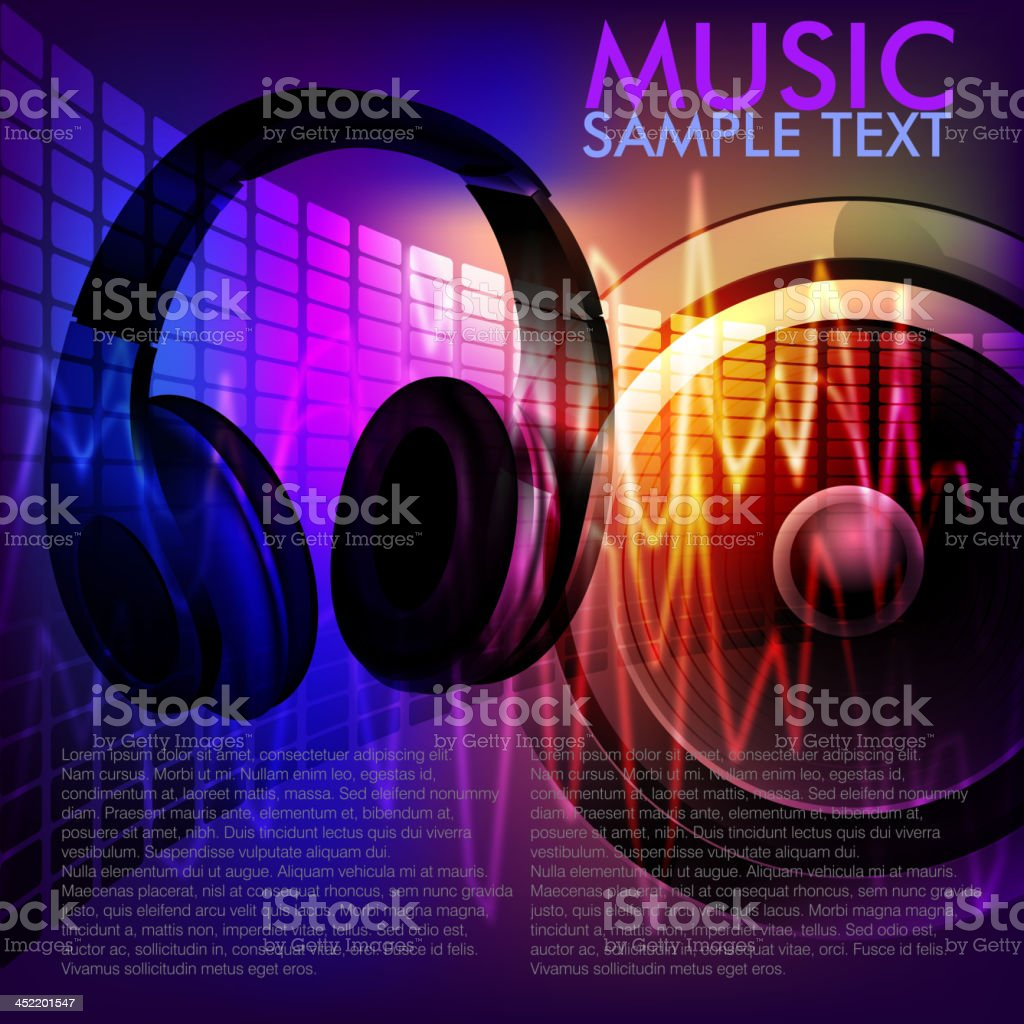 Abstract Music Background with head phones royalty-free stock vector art