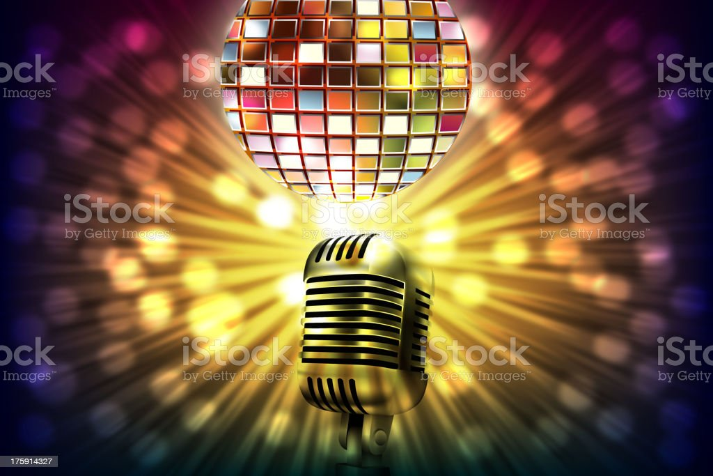 Abstract Music Background with Microphone and Disco ball royalty-free stock vector art