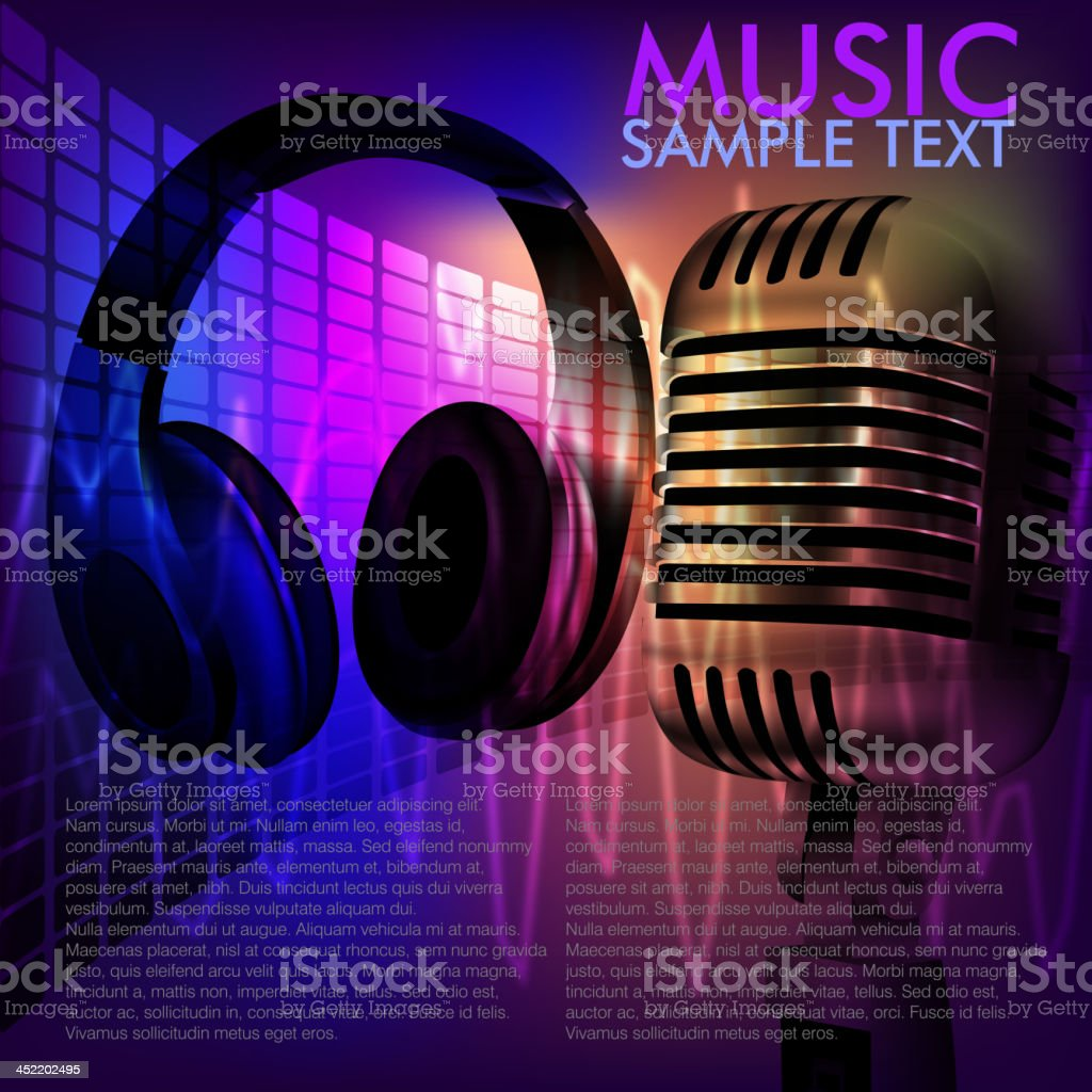 Abstract Music Background with Microphone and head phone royalty-free stock vector art