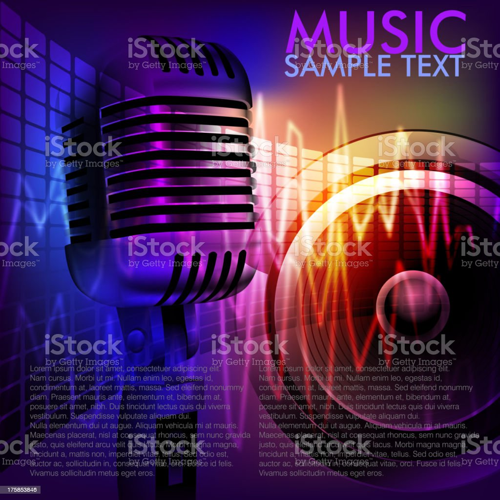 Abstract Music Background with Microphone vector art illustration