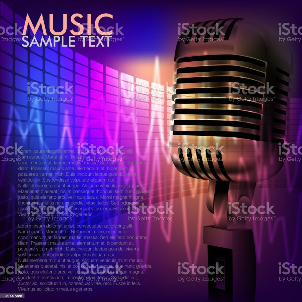 Abstract Music Background with Microphone royalty-free stock vector art