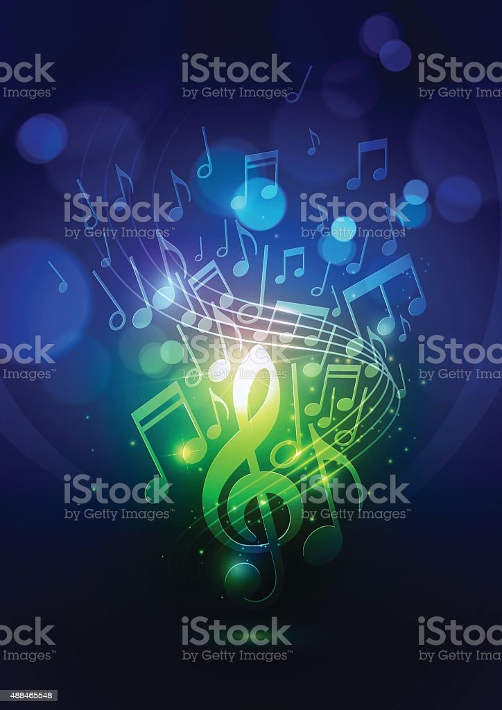 Abstract Music Notes and Bokeh Lights Blue Background vector art illustration