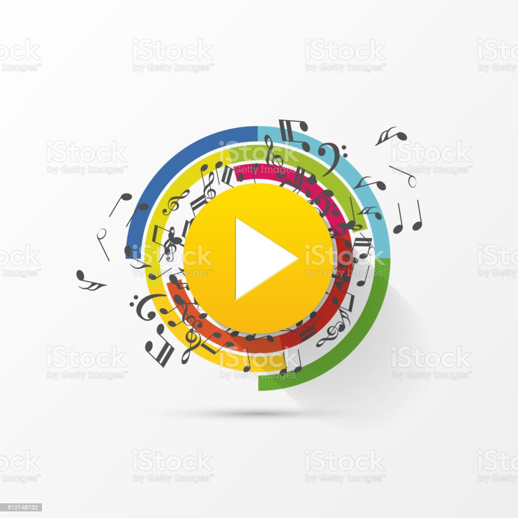 Abstract music play button with note. Vector vector art illustration