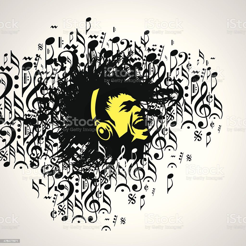 Abstract musical background vector art illustration
