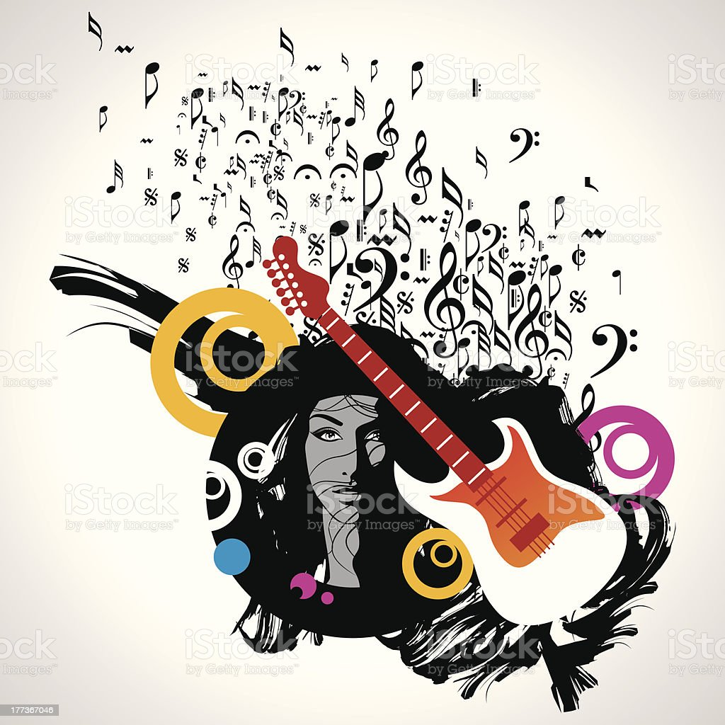 Abstract musical background with music notes royalty-free stock vector art